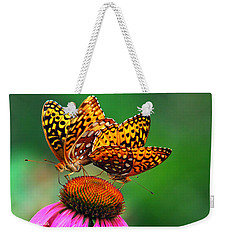 Weekender Tote Bag featuring the photograph Butterfly Twins by Christina Rollo