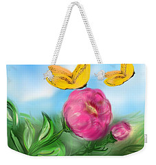 Weekender Tote Bag featuring the digital art Butterfly Twins by Christine Fournier