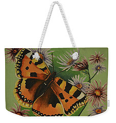 Butterfly With Asters Weekender Tote Bag by Donna Blossom