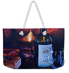 By The Fire Weekender Tote Bag by Donna Tuten