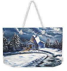 Cabin At Night Weekender Tote Bag by Bozena Zajaczkowska