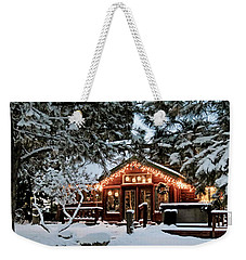 Cabin With Christmas Lights Weekender Tote Bag