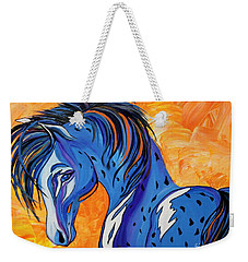 Weekender Tote Bag featuring the painting Cadet The Blue Horse by Janice Rae Pariza