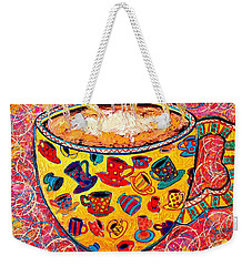Cafe Latte - Coffee Cup With Colorful Coffee Cups Some Pink And Bubbles  Weekender Tote Bag