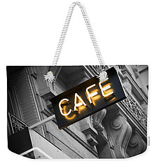 Cafe Sign Weekender Tote Bag by Chevy Fleet