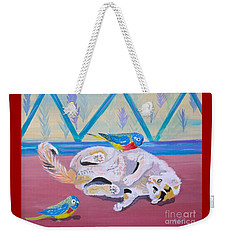 Weekender Tote Bag featuring the painting Calico And Friends by Phyllis Kaltenbach