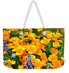 Weekender Tote Bag featuring the photograph California Poppies And Betham Lupines Southern California by Dave Welling