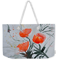 California Poppies Sumi-e Weekender Tote Bag by Beverley Harper Tinsley