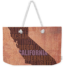 California Word Art State Map On Canvas Weekender Tote Bag