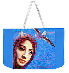 Weekender Tote Bag featuring the painting Call Of The Deep by Jane Small