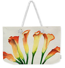 Weekender Tote Bag featuring the painting Calla Lilies by Kathy Braud