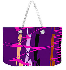 Weekender Tote Bag featuring the digital art Calligraphic Doodle With Pink by Mary Bedy