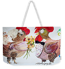 Weekender Tote Bag featuring the painting Calling All Chicken Lovers Say I Do by Eloise Schneider