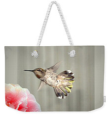 Weekender Tote Bag featuring the photograph Camellia And Hummer by Joyce Dickens
