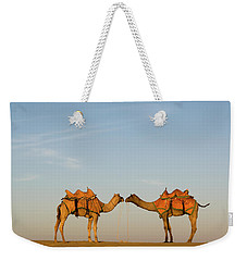Camels Stand Face To Face In The Thar Weekender Tote Bag