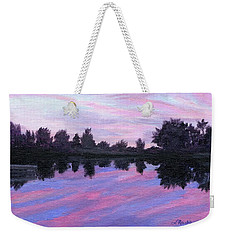 Weekender Tote Bag featuring the painting Camp Sunset by Lynne Reichhart