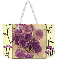 Campanula Framed With Pressed Petals Weekender Tote Bag by Sandra Foster