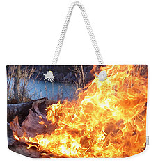 Weekender Tote Bag featuring the photograph Campfire by James Peterson