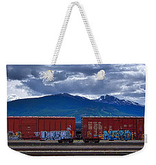 Canadian Freight Train In Jasper Weekender Tote Bag