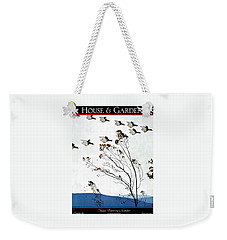 Canadian Geese Over Brown-leafed Trees Weekender Tote Bag by Andre E.  Marty