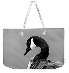 Weekender Tote Bag featuring the photograph Canadian Goose In Black And White by Frank Bright