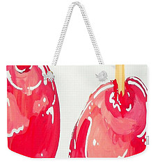 Weekender Tote Bag featuring the painting Candy Apples by Marisela Mungia