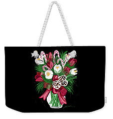 Weekender Tote Bag featuring the painting Candy Cane Bouquet by Jean Pacheco Ravinski