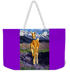 Candy Rocky Mountain Palomino Colt Weekender Tote Bag by Jackie Carpenter
