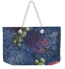 Weekender Tote Bag featuring the painting Candy-winged Dragons by Megan Walsh
