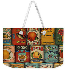 Weekender Tote Bag featuring the drawing Canned by Meg Shearer