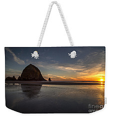 Cannon Beach Dusk Conclusion Weekender Tote Bag by Mike Reid