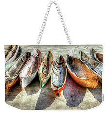 Canoes Weekender Tote Bag by Debra and Dave Vanderlaan