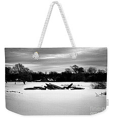 Canoes In The Snow - Monochrome Weekender Tote Bag