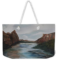 Weekender Tote Bag featuring the painting Canyon De Chelly by Ellen Levinson