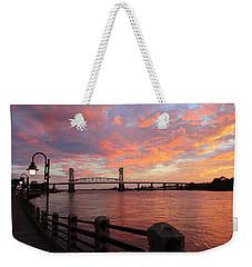 Weekender Tote Bag featuring the photograph Cape Fear Bridge by Cynthia Guinn