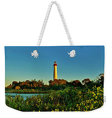Cape May Lighthouse Above The Flowers Weekender Tote Bag
