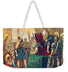 Weekender Tote Bag featuring the photograph Caractacus Before Emperor Claudius, 1st by British Library