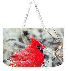 Cardinal Bird Christmas Card Weekender Tote Bag