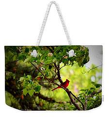 Cardinal In Dogwood Weekender Tote Bag