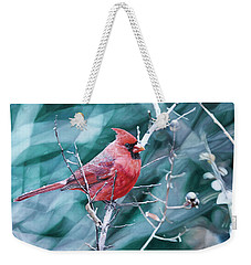 Weekender Tote Bag featuring the painting Cardinal In Winter by Joshua Martin