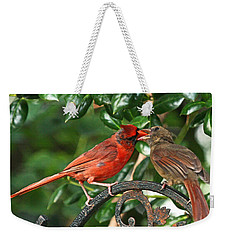 Cardinal Bird Valentines Love  Weekender Tote Bag by Luana K Perez