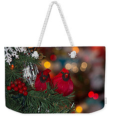 Weekender Tote Bag featuring the photograph Cardinals At Christmas by Patricia Babbitt