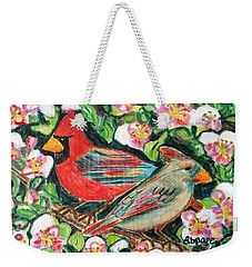 Cardinals In An Apple Tree Weekender Tote Bag