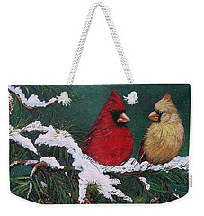 Cardinals In The Snow Weekender Tote Bag