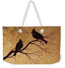 Cardinals Silhouettes Coffee Painting Weekender Tote Bag