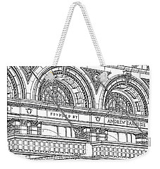 Weekender Tote Bag featuring the drawing Carnegie Hall by Ira Shander