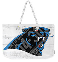 Carolina Panthers Football Team Retro Logo Recycled North Carolina License Plate Art Weekender Tote Bag by Design Turnpike