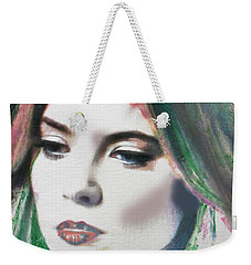 Weekender Tote Bag featuring the digital art Carrie  by Kim Prowse