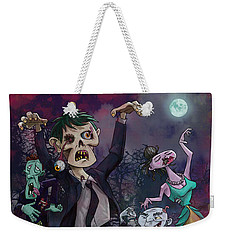 Weekender Tote Bag featuring the digital art Cartoon Zombie Party by Martin Davey