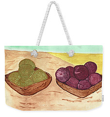 Weekender Tote Bag featuring the painting Castaway Fruit by Tracey Williams